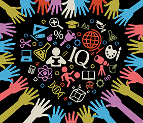 hand-drawn image of hands surrounding a heart shape filled with education symbols