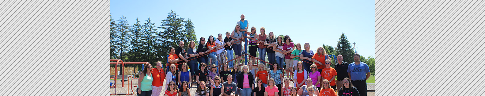 Grant Elementary School staff posing for an outdoor picture