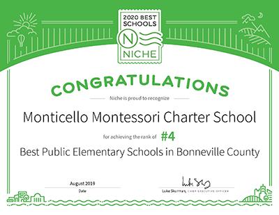 2020 Best Schools certificate awarded to Monticello Montessori Charter School