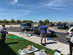 Cars participating in the end of school parade