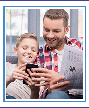 Father and son with newspaper and smartphone