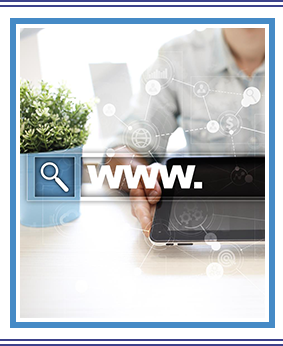 Woman searching the WWW on her laptop