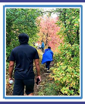 Volunteers on an outdoor field trip
