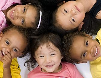 Kindergarteners smiling