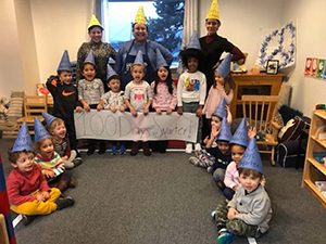 Students pose on the 100th day of school