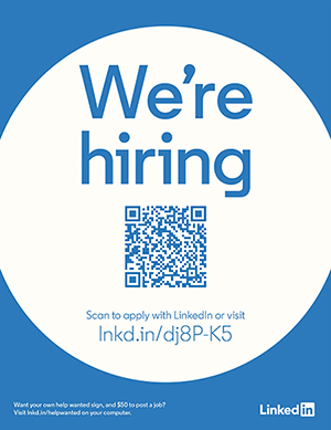 We're hiring. Scan to apply with LinkedIn or visit lnkd.in/dj8P-K5
