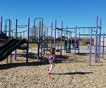 Hermiston student runs through the playground