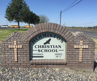 Front view of Hermiston Christian School sign