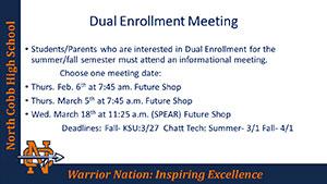 Dual Enrollment Meeting Schedule