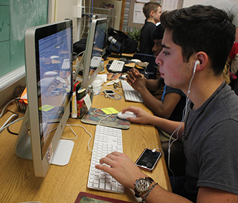 North Cobb male student working at a school computer