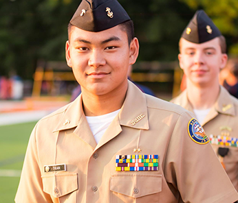 NCJROTC student on the field