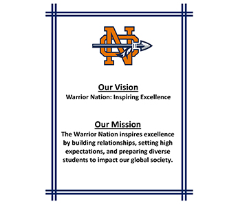 Our Vision: Warrior Nation: Inspiring Excellence, Our Mission: The Warrior Nation Inspires excellence by building relationships, setting high expectations, and preparing diverse students to impact our global society.