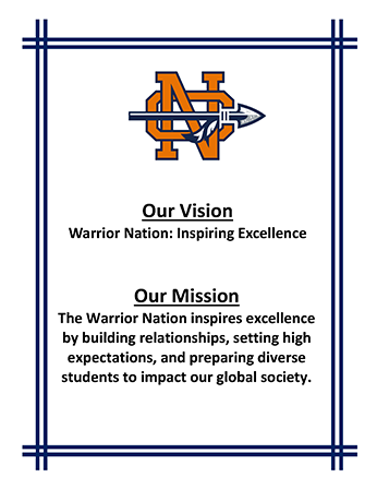 Our Vision. Warrior Nation: Inspiring Excellence. Our Mission: The Warrior Nation inspires excellence by building relationships, setting high expectations, and preparing diverse students to impact our global society.