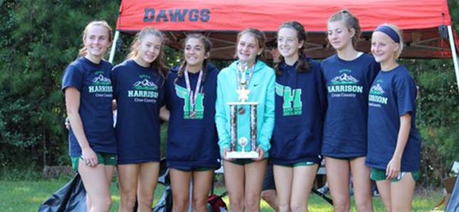 Group of girls huddled together holding trophy