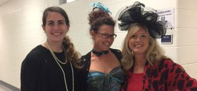 Three people dressed up
