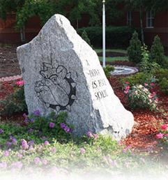Harrison High School mascot painted on rock in flower garden