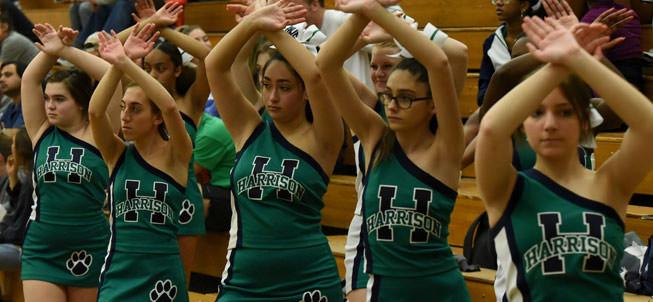 Cheerleaders at a basketball game