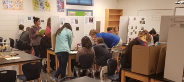 Students working on group projects