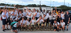 NJROTC Drill Team with trophies