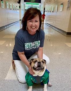 Ashlynn Campbell Principal with bulldog