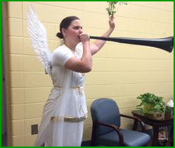 Teacher dressed as an angel