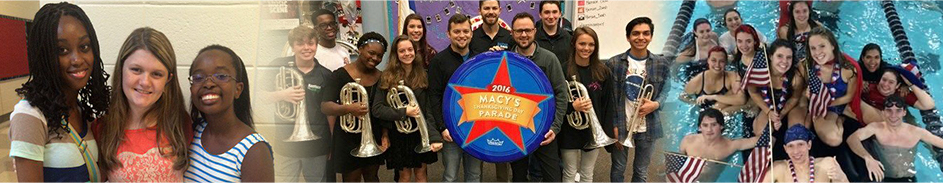 Students pose together in a hallway, with a Macy's Thanksgiving Day parade sign and instruments and in a pool with American flags