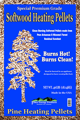 front of Pine  Heating Pellets bag