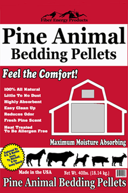 Pine Animal Bedding Pellets front of bag