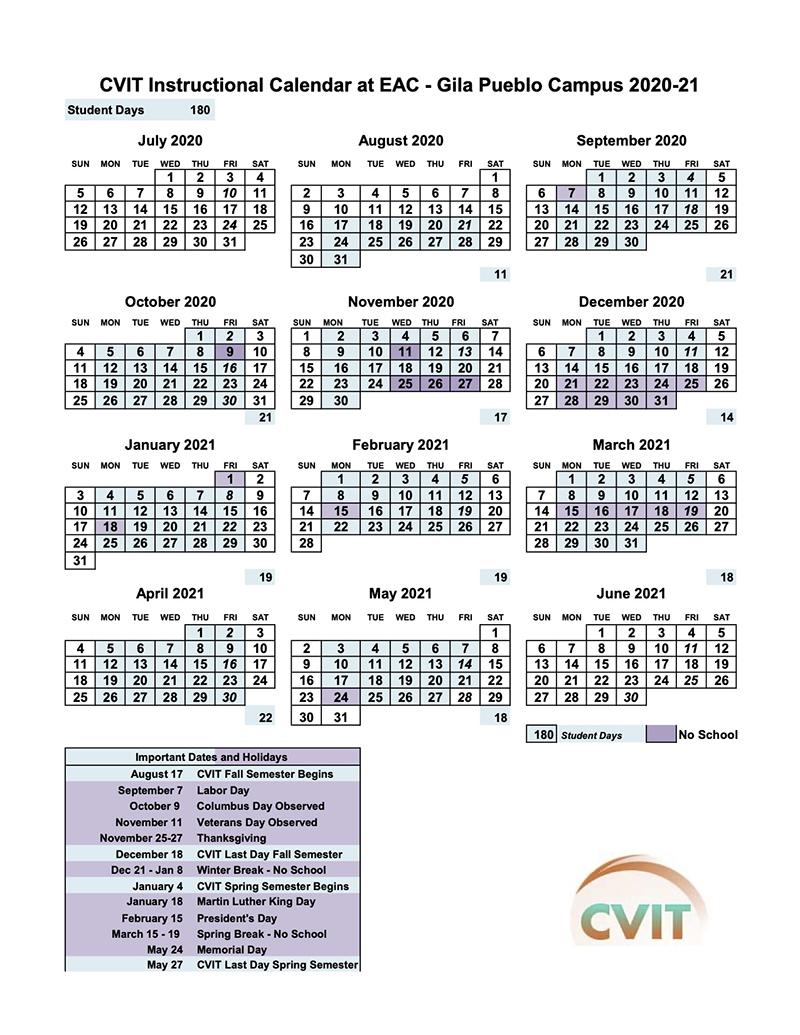CVIT Academic Calendar for EAC