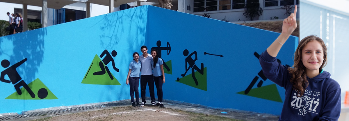 Students and Mural