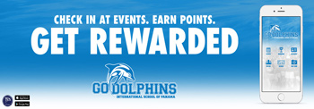 Check in at events. Earn points. Get rewarded. Go Dolphins. App on Apple store and Google Play