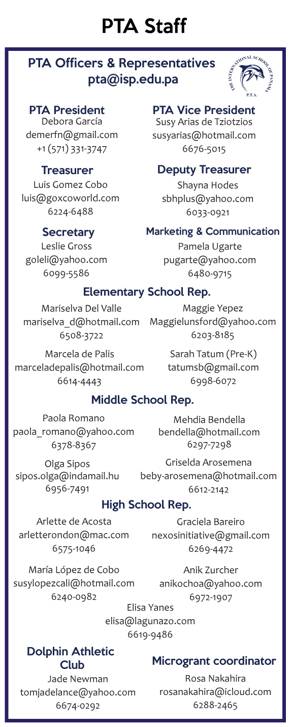 View larger image of PTA Officers and Representatives information