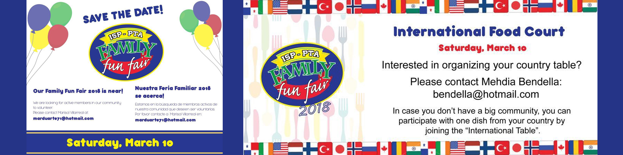 PTA Save the Date Family Fun Fair and International Food Court