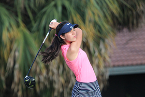 Carla Alvarez competing in the Isthmian Golf Tournament Ladies Category