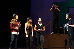 MS/HS One-Acts scene with group of four girls talking