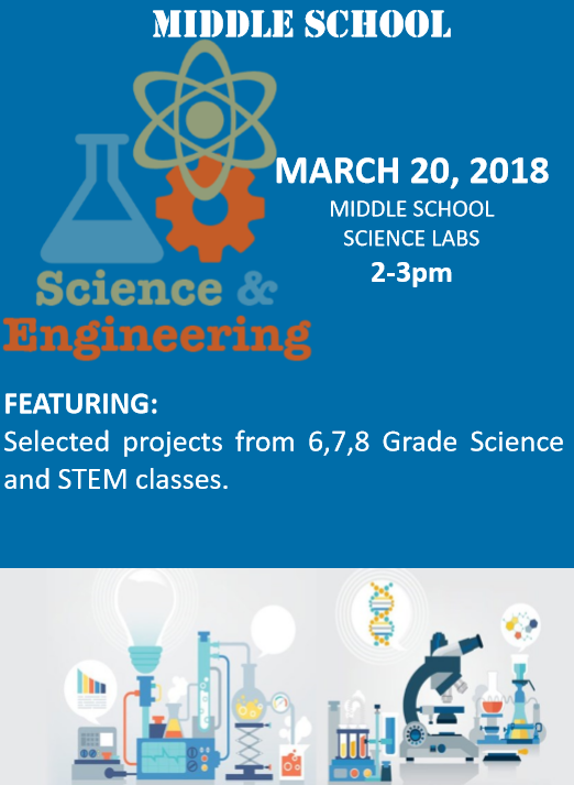 March 20, 2018 Middle School Science Labs 2-3pm Featuring: Selected projects from 6,7,8 Grade Science and STEM classes.