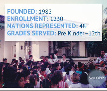 Founded: 1982; Enrollment: 1230; Nations Represented: 48; Grades Served: Pre Kinder-12th