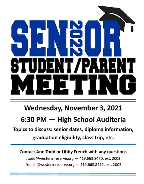 Click for Senior Student/Parent Meeting flyer