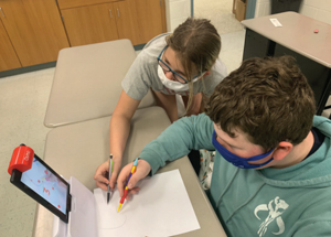 students using technology