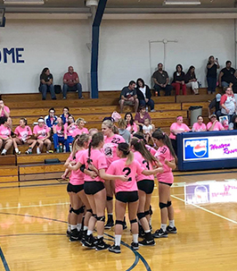 Girls volleyball team huddled up during a game