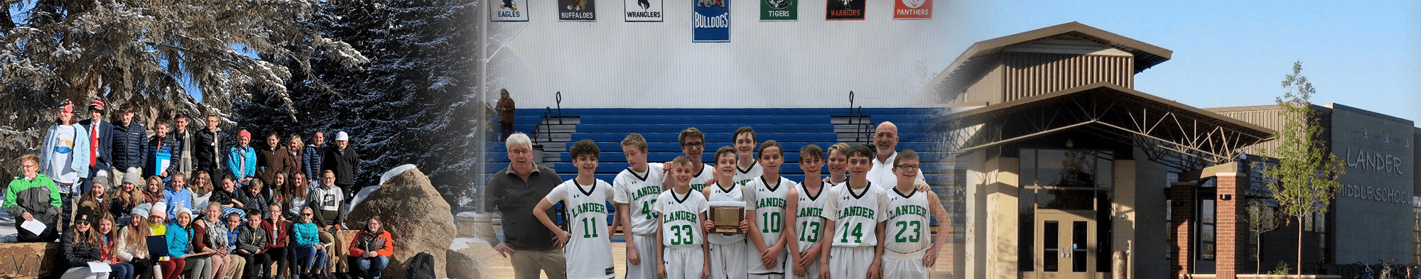 Basketball players pose with coaches and an award, students pose in nature, front view of Lander Middle School