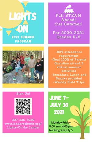 Lights on 2021 summer program flyer