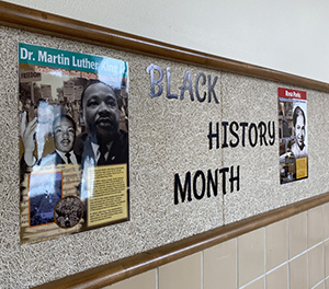 Black History Month display on wall