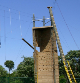 climbing wall with ropes
