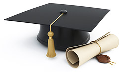 Mortar board with tassel and diploma