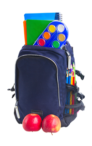 Backpack with apples and school supplies