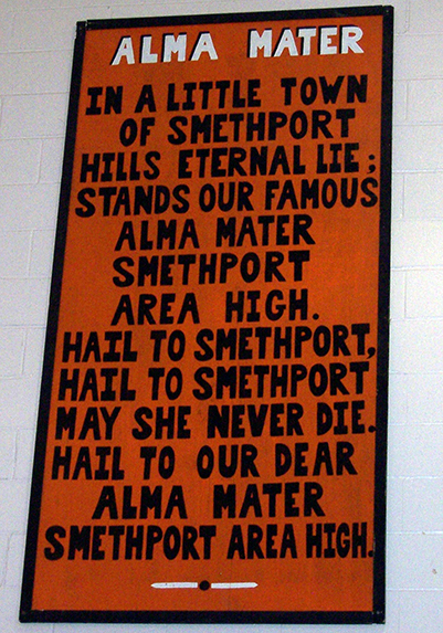Alma Mater- In a little town of Smethport Hills eternal lie stands our famous Alma Mater Smethport Area High- Hail to Smethport -Hail to Smethport may she never die hail to our dear Alma Mater Smethport Area High