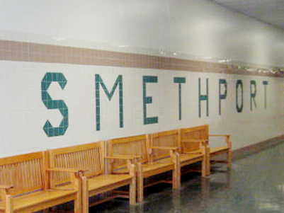 Smethport written in tiles in a hallway