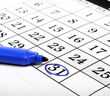 Calendar with 31 circled