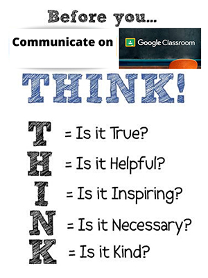 View the Nettiquette Before you communicate on google classroom flyer